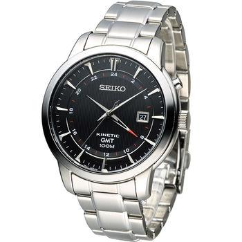 精工 SEIKO Kinetic 雙時區簡約時尚腕錶 5M85-0AC0D (SUN033P1)