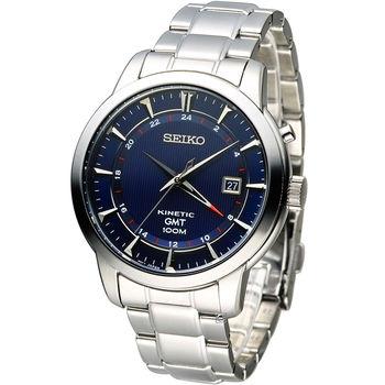 精工 SEIKO Kinetic 雙時區簡約時尚腕錶 5M85-0AC0B (SUN031P1)