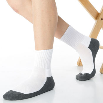 【KEROPPA】可諾帕細針毛巾底5比1氣墊1/2男短襪x3雙C91006白深灰