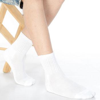 【KEROPPA】可諾帕細針毛巾底5比1氣墊1/2男短襪x3雙C91006白
