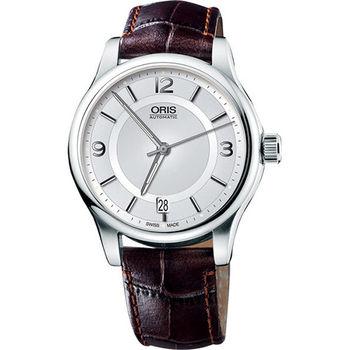 Oris Classic Date 經典都會時尚機械腕錶-銀x咖啡  733.7594.40.31LS