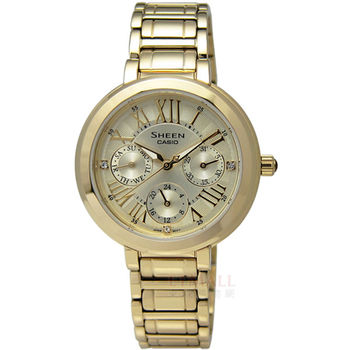 CASIO SHEEN 氣質典雅施華洛世奇水晶三環鍍金不鏽鋼腕錶 金色 34mm / SHE-3034GD-9A