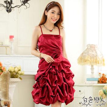 【白色戀人中大尺碼】酒紅色時尚收皺燈籠裙小禮服