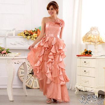 【白色戀人中大尺碼】粉色平口亮片荷葉滾邊長禮服