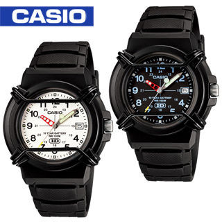 【CASIO 卡西歐】日系-防撞桿保護鏡面指針學生錶(HDA-600B)