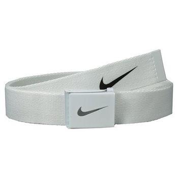 【Nike】2015金屬扣旋風標誌棉軟織帶白色皮帶(預購)