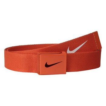 【Nike】2015金屬扣旋風標誌棉軟織帶橙色皮帶(預購)