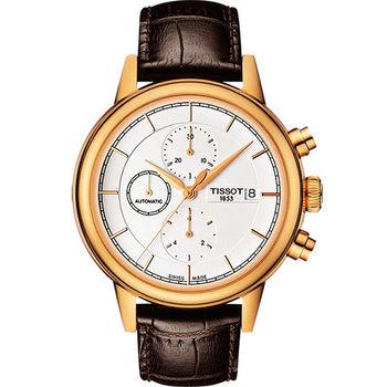TISSOT Carson 經典三眼計時機械腕錶-銀x玫瑰金框/42mm T0854273601100