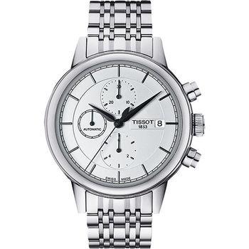 TISSOT Carson 經典三眼計時機械腕錶-銀/42mm T0854271101100