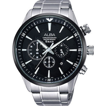 ALBA PRESTIGE 世界地圖經典計時腕錶-黑x銀 VD53-X172D(AT3631X1)