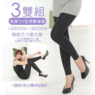 【AILIMI】180D全彈性亮蔥九分褲襪(3雙組)