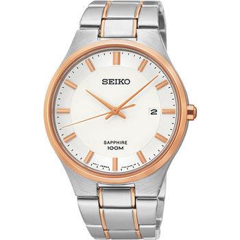 SEIKO 藍寶石水晶時尚腕錶-銀x玫瑰金 7N42-0GB0K(SGEH34P1)