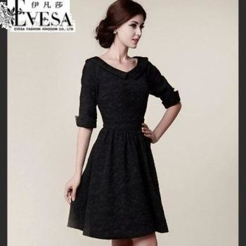 預購【EVESA伊凡莎】典雅宮廷公主顯瘦緹花洋裝-型