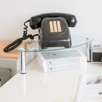 【ikloo宜酷屋】玻璃角落電話架/置物架