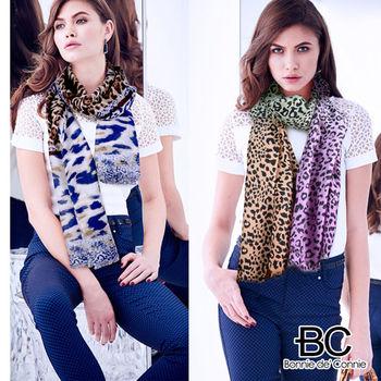 法國BC100% 純羊毛時尚豹紋輕暖披肩
