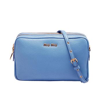MIU MIU MADRAS PICCOLE BORSE羊皮雙拉鍊手拿/斜背小包(淺藍色)RT0539-ASTRALE