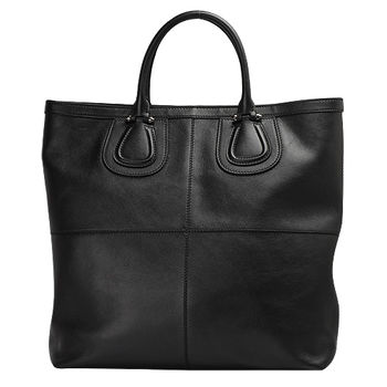 GIVENCHY NIGHTINGALE 系列LOGO壓紋小羊皮直立手提包(黑) 14M5040015-001