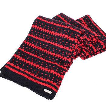 agnes b.-SPORT b.系列針織圍巾/披巾(深藍紅)