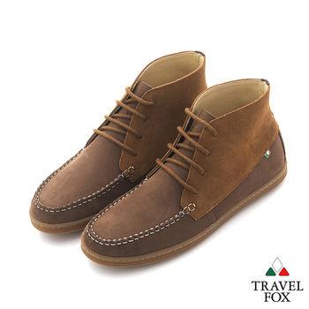Travel Fox(男) STYLE-風格流行 同色調 反色中筒休閒鞋 - 反棕咖
