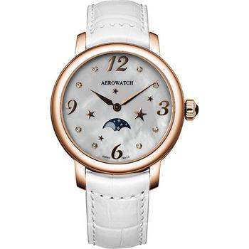 AEROWATCH 星空繁華月相時尚腕錶-珍珠貝x玫塊金框 A43938RO09