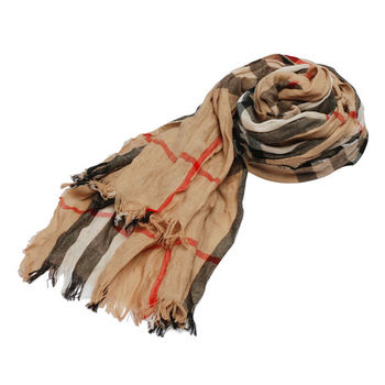 BURBERRY 經典大格紋純羊毛抓皺流蘇披肩/絲巾(200CM-駝色)3894350-CAMEL-CHECK