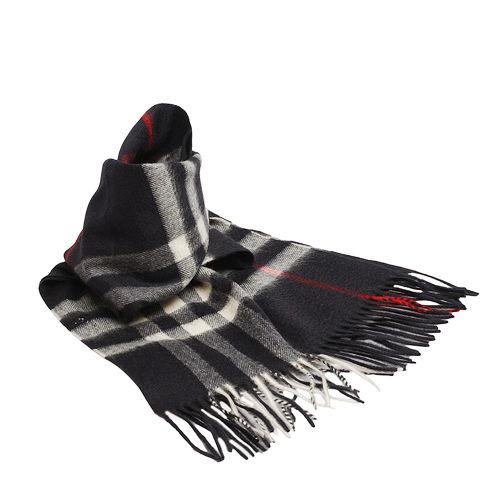 BURBERRY 經典大格紋喀什米爾羊毛圍巾(168CM-海軍藍)3834195-NAVY-CHECK