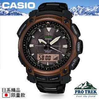 【CASIO 卡西歐 登山錶系列】全日製-太陽能電波時尚鈦金屬錶帶男仕登山錶(PRW-5050YT)