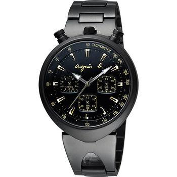 agnes b. 小惡魔三眼計時腕錶-黑x金 VD55-KS00K(BX9003X1)