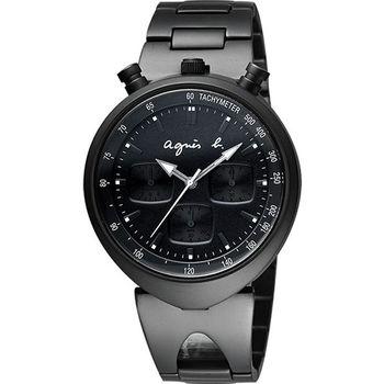 agnes b. 小惡魔三眼計時腕錶-黑 VD55-KS00SD(BX9002X1)