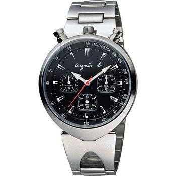 agnes b. 小惡魔三眼計時腕錶-黑x銀 VD55-KS00D(BX9001X1)