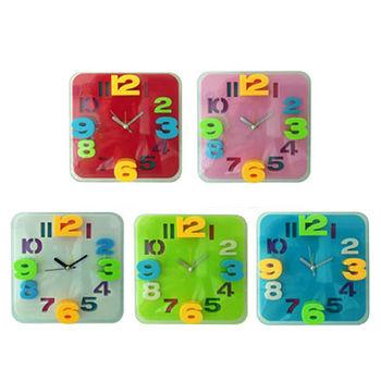 【無敵王】糖果色立體數字方形鬧鐘SV-1317