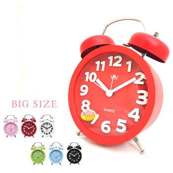 【無敵王】糖果色立體數字雙鈴圓型鬧鐘SV-1329