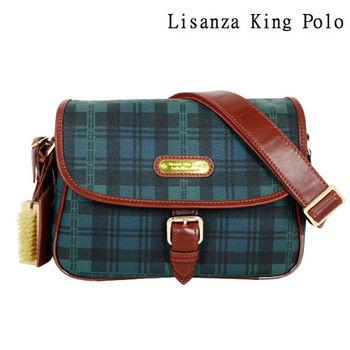 Lisanza King Polo 格紋蛇扣斜背包