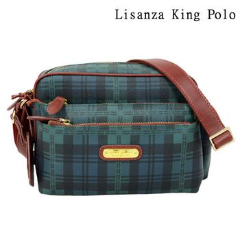Lisanza King Polo 格紋多層收納斜揹包