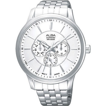 ALBA 街頭摩登全日曆腕錶-銀 V33J-X067S