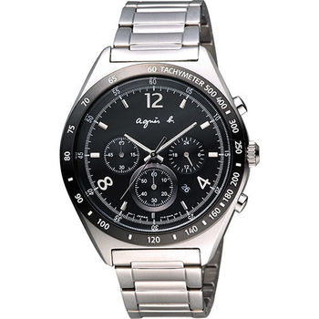 agnes b. 宇宙星馳視距儀計時腕錶-黑 7T12-0AP0D(BW8001P1)
