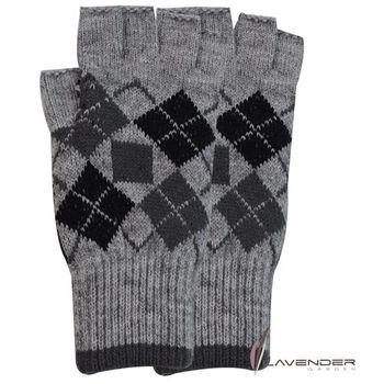 Lavender-半指(露趾)保暖手套-小菱格紋-灰(男)