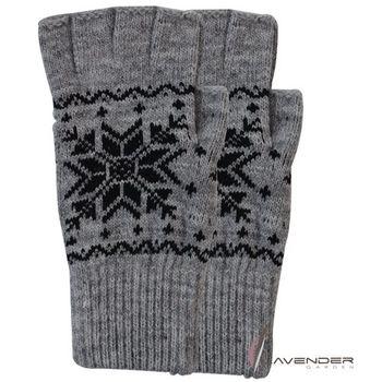 Lavender-半指(露趾)保暖手套-大雪花-灰( 男)