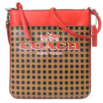 COACH 馬車壓印標誌點點皮飾邊斜背包(橘)-51935
