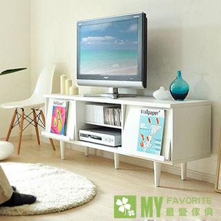 【最愛傢俱】密卡登翻轉面板電視櫃(白色)-日系風格