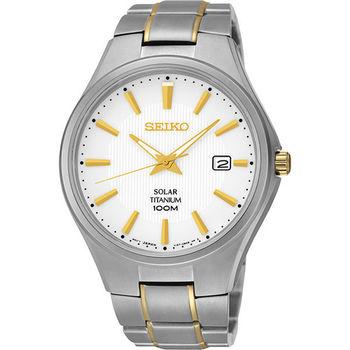 SEIKO Solar【鈦】都會先鋒時尚腕錶-金x銀 V157-0BB0K(SNE379P1)
