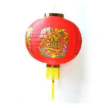 【農曆春節】16吋招財進寶大紅綢布燈籠 (一組兩入不含燈)
