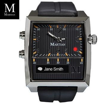 【Martian】摩絢錶 藍芽智慧聲控腕錶 Passport 黑面銀框黑錶帶 (PBSB)