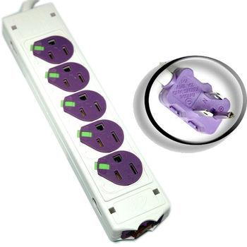鎖扣型防塵蓋雙面3孔10座15A電腦安全插座 1.8M