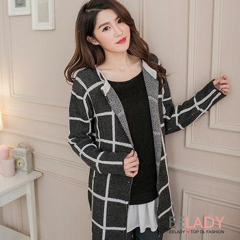 【EE-LADY】韓系十字厚針織開襟長版外套-黑色