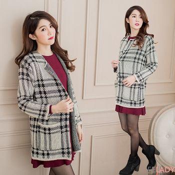 【EE-LADY】韓系格紋厚針織開襟長版外套-米色