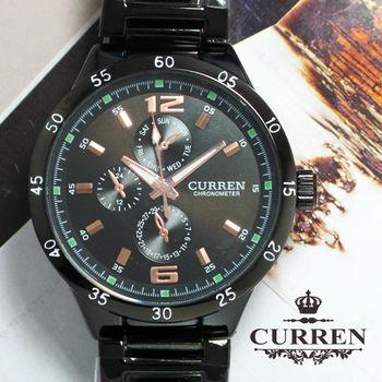 CURREN 軌道式刻度三眼造型不鏽鋼男仕錶