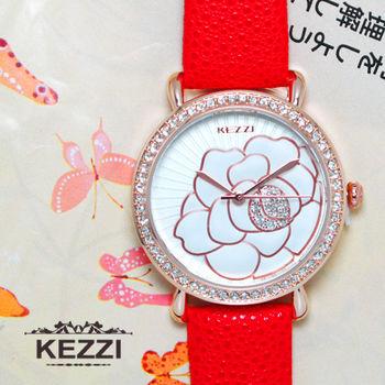 KEZZI 浮雕鑲鑽山茶花時尚皮帶錶