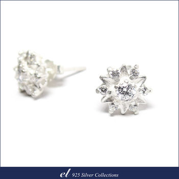 el 925銀飾 - 方晶鋯石耳環 Blooming