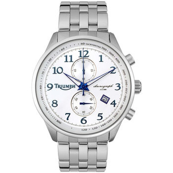 【迎春福袋】TRIUMPH 3013-33凱旋Speed Triple R不可能任務2列計時碼錶-不鏽鋼帶/白/45mm